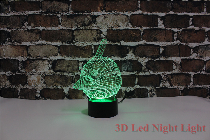 New Arrival 3D Led Bird Nursery Night Light 7 Colors changeable Creative Carton Bird Nursery Nite Lite YJM 2842