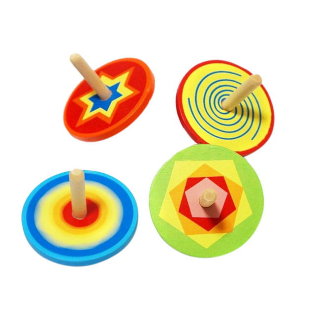JIMMY BEAR 2 Pcs/Set Wood Spinning Top Kids Colorful Wooden Gyro Toy Intelligence Classic Toy