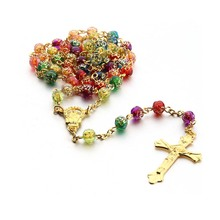 Rose Bead Cross Necklace Christian Catholic Jewelry Wholesale