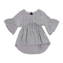 Милая летняя футболка в полоску с длинными рукавами и оборками для девочек топы для новорожденных девочек с круглым вырезом, модные летние топы, футболки, наряды