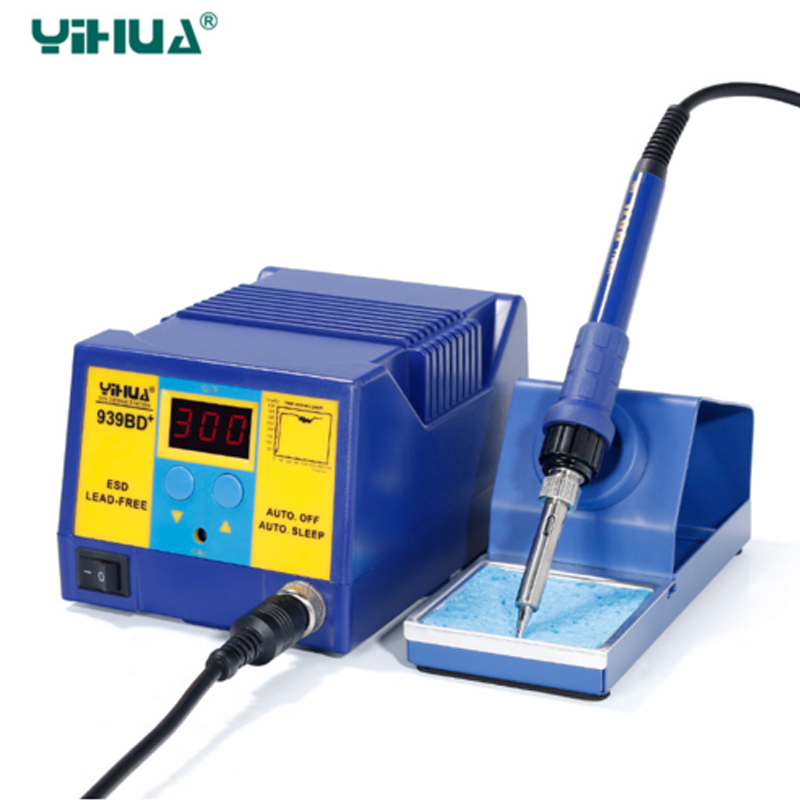 YIHUA939BD+ anti-static welding power station, power temperature soldering platform, Automatic sleep fuction lead-free soldering  936a 70w lead free thermostat soldering station soldering tools anti static industrial electric iron welding station