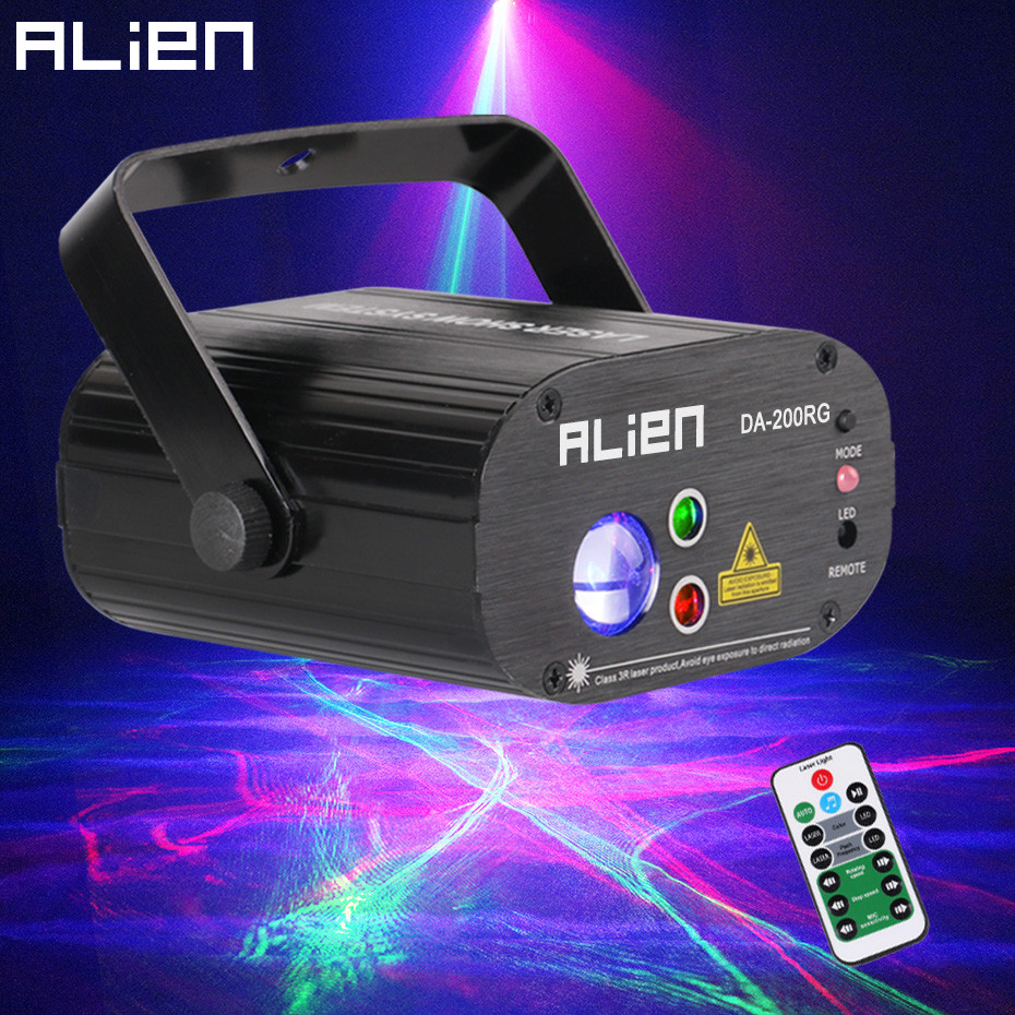ALIEN Remote RG Aurora Laser Projector With RGB LED Water Wave Party Dance DJ Disco Holiday