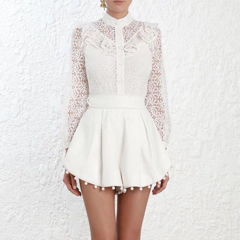 Белый женский комплект 2 шт. Подиумные модные комплекты шорты полые из двух частей женские блузки