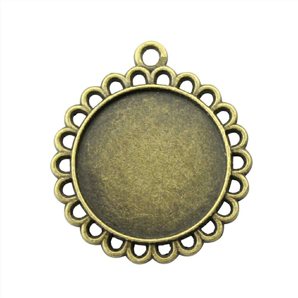 10 шт. 20 мм внутренняя Размеры (31×27 мм внешний Размеры) винтаж античная бронза Цвет круглый металлический Форма Камея Кабошон ободок Установка