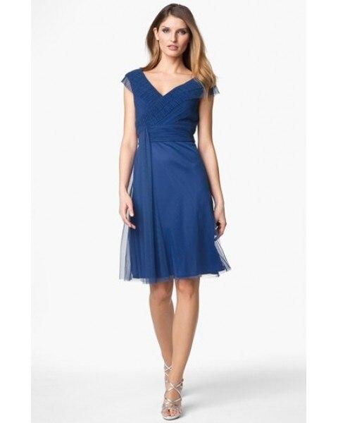 Tulle a-ligne v-cou ceintures bleu marine robes de demoiselle d'honneur moins de 100 2019 mode chocéré1032