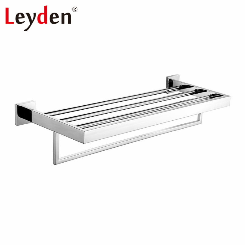 Leyden 304 Stainless Steel Bathroom Towel Rack Polished Chrome Bath Towel Holders Wall Mounted Towel Shelf Bathroom Accessories