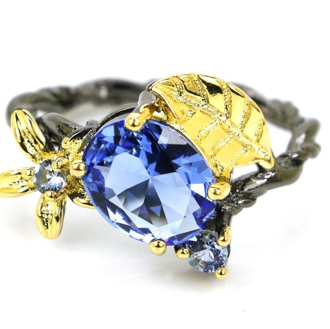 8# Vintage Green Emerald, Swiss Blue Topaz Black Gold  925 Silver Ring 17x16mm
