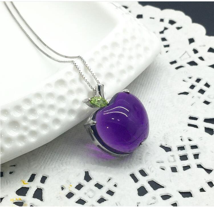 Amethyst pendant Free shipping Necklace pendant Natural amethyst pendants 925 sterling silver 18mm цена и фото