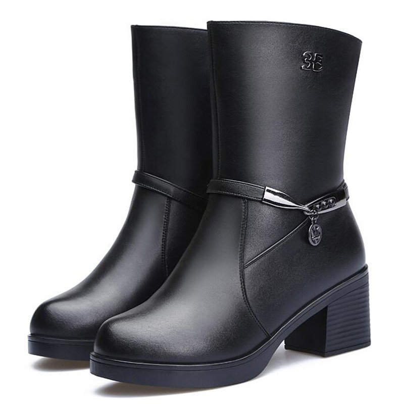 Zxryxgs Nieve Cuero Lana Caliente 2018 Gruesa Real Nuevo Zapatos Mujer Más Invierno Marca Tacones Botas Medio Negro De S0rzS4Uwq