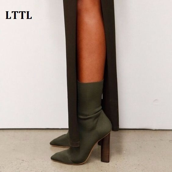 Popular Kardashian Stretch Knit Ankle Boots Women Slim Botines Mujer Pointed Toe 9cm Triangle High Heel Shoes Woman Sexy