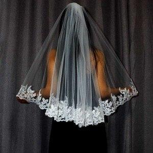 Image 5 - New Lace Edge One Layer Short Wedding Veil With Comb Elegant White Ivory Bridal Veil Velo Novia Bride Accessories