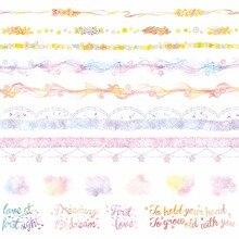 8 дизайнов новые цветы/кружево/письмо/Радуга/облако узор японский Васи декоративный клей DIY маскирующая бумага клейкая лента наклейка этикетка