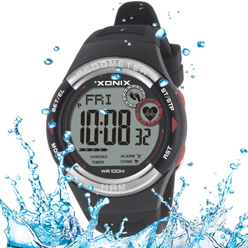 XONIX 2018 NEW Sieviešu pulkstenis Vīriešu daudzfunkciju ūdensnecaurlaidīgs gudrs sporta pulkstenis HRM3 sirdsdarbības trenažieru izsekošanas pedometrs