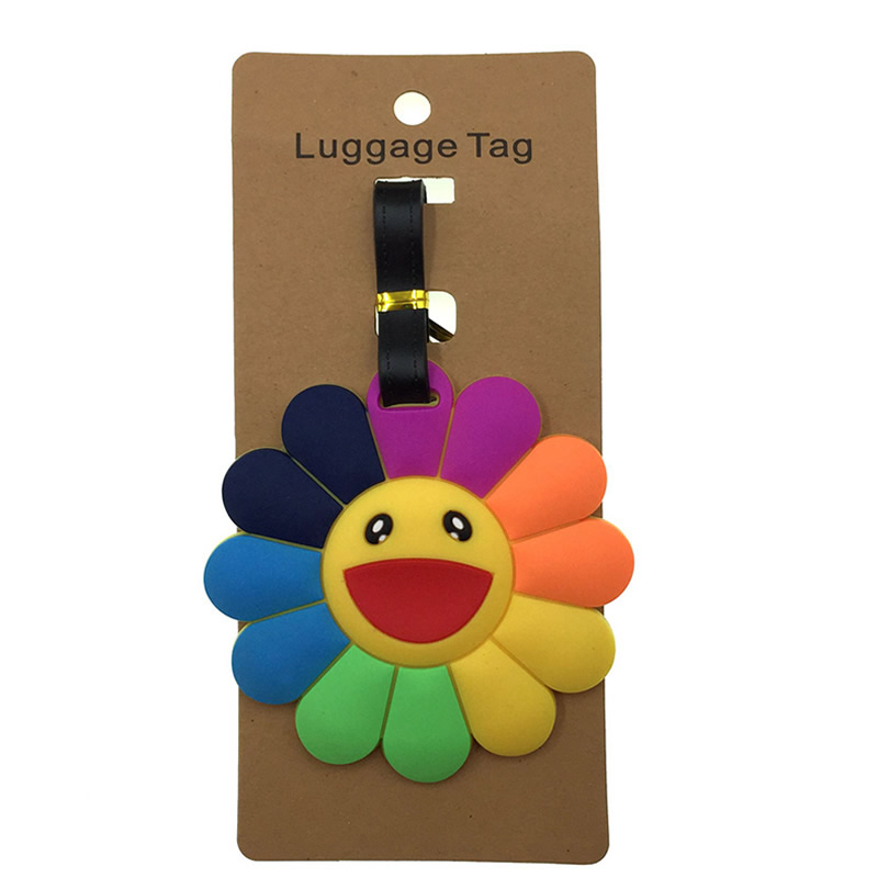 Cartoon Sun Flower Luggage Tags Silica Gel Suitcase Cartoon Holder Baggage Boarding  Addres Credt Travel Accessories Portable
