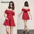 Ombro off sexy summer dress mulheres red mini vestidos mujer 2017 robe femme casuais babados senhoras elegantes vestidos curtos c111