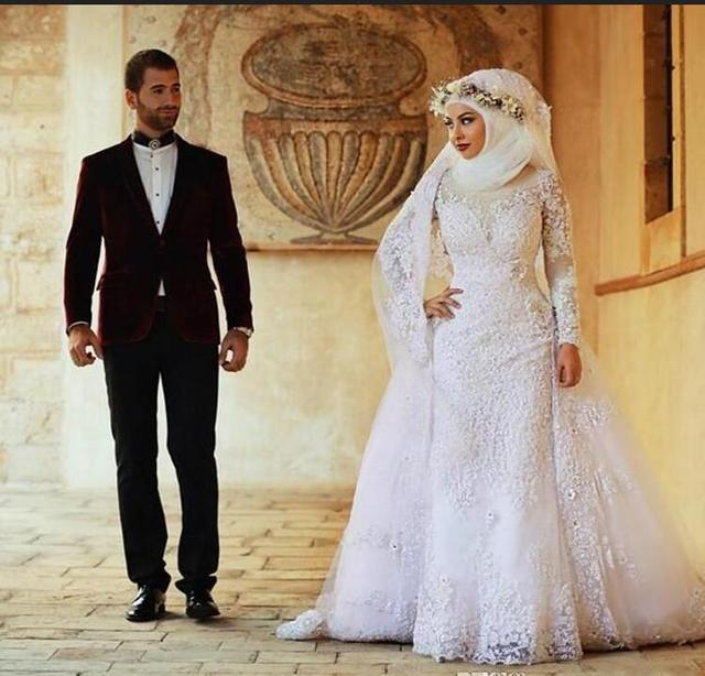 Arabisch Langen Ärmeln Spitze Moslemisches Überrock Brautkleider ...