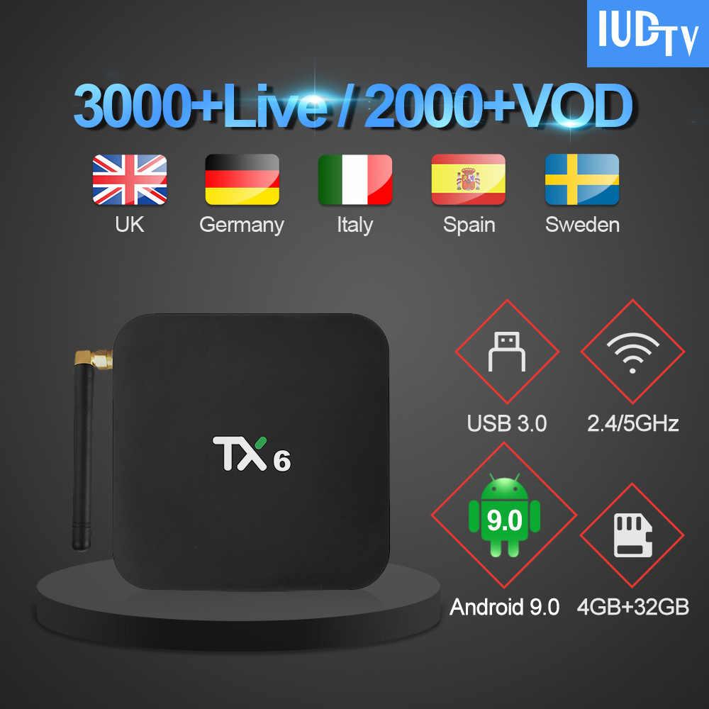 TX6 Великобритания шведский интерактивное телевидение iudtv подписка 4G 32G Android tv Box 1