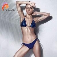Andzhelika Bikini Sexy Women Sequin Bikini Set Summer Brazilian Swimsuit Solid Low Waist Swimwear Beach Bathing