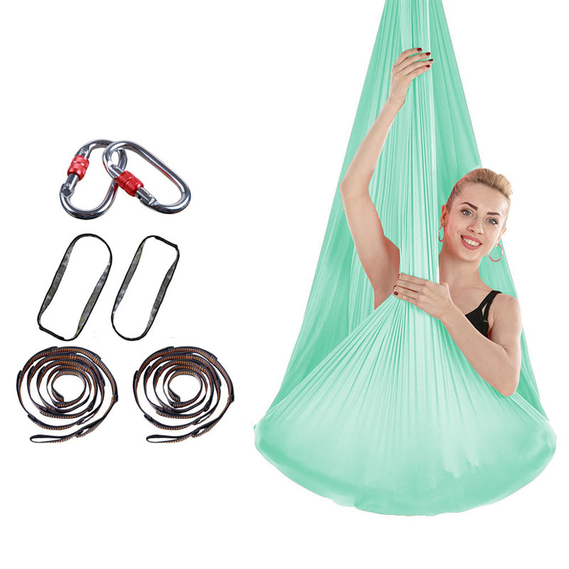 The Ventilation Aerial Yoga Hammock Body Building Yoga Belts With Hooks And Rope Home Furniture No Knotting Indoor Swing Bed 4m