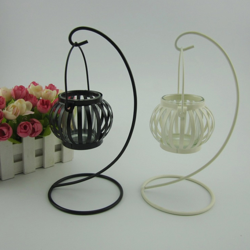 European Retro Pumpkin Candlestick Metal Wrought Iron Hanging Lamp Decoration Candle Table Crafts Handmade Processing
