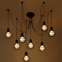 Loft Antique Retro Spider Chandelier Art Black DIY E27 Vintage Adjustable Edison Bulb pendant lamp Haning Fixture Lighting