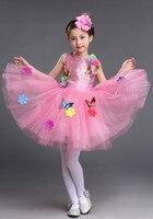 Enfants De Danse Tutu Robes Costume Fleurs et Papillons Applique Bling Sequin Noce Fantaisie Robe pour Enfants