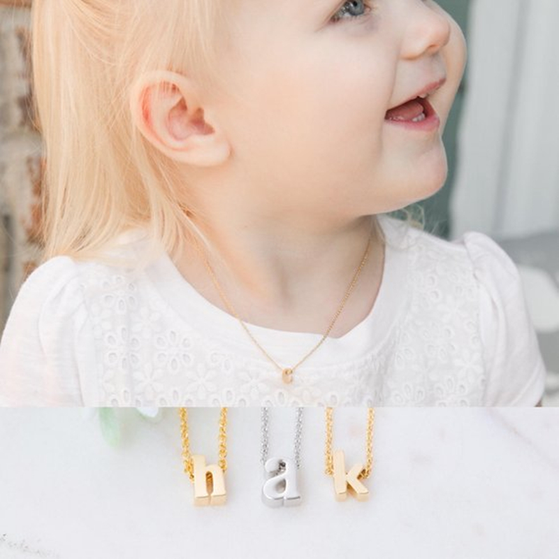 Minimalist Baby Jewelry Rose Gold Initial Pendant Custom Name Necklace Personalized Gift Stainless Steel Chain Collares Bijoux chain