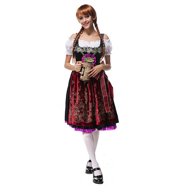 2017 Women Oktoberfest Beer Festival Bavarian Costumes German Beer Festivals Costume Clothing Female Barmaid Velvet Long Dress