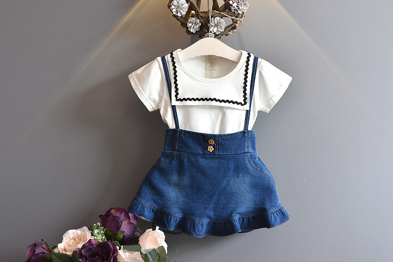 Children's Garment 2017 Summer New Pattern Girl School The Wind Of Cotton T+ Straps Cowboy Skirt Two Pieces Suit the girl in the flammable skirt