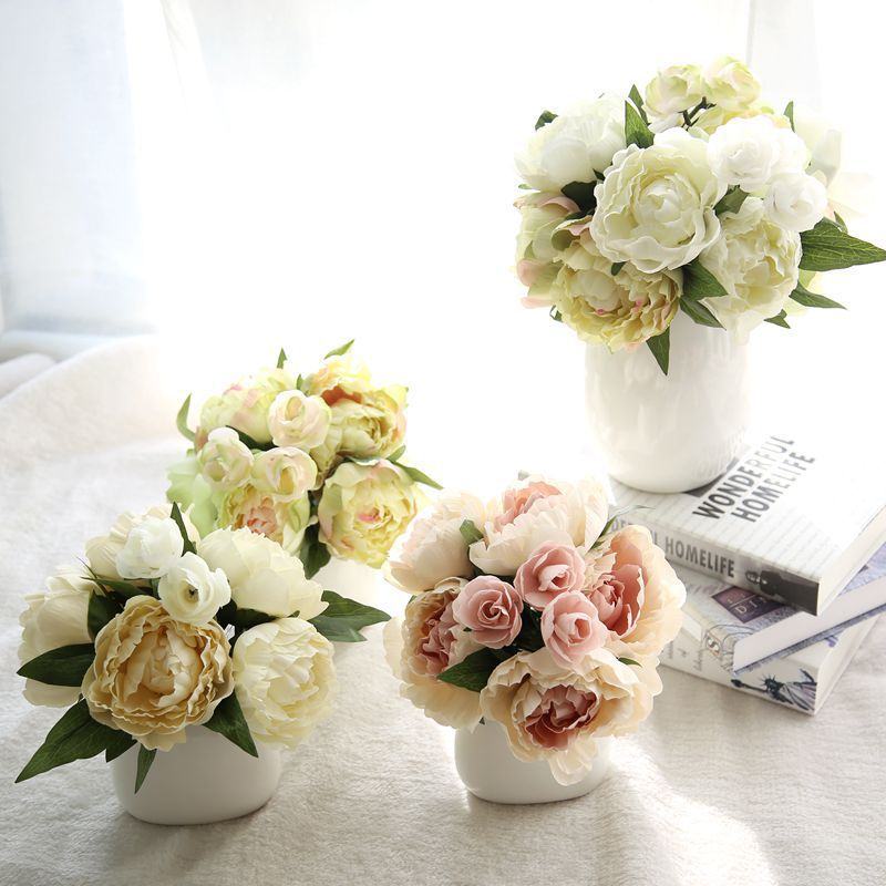 1pc lot decorative artificial flowers peony silk bridal for Artificial flowers for wedding decoration