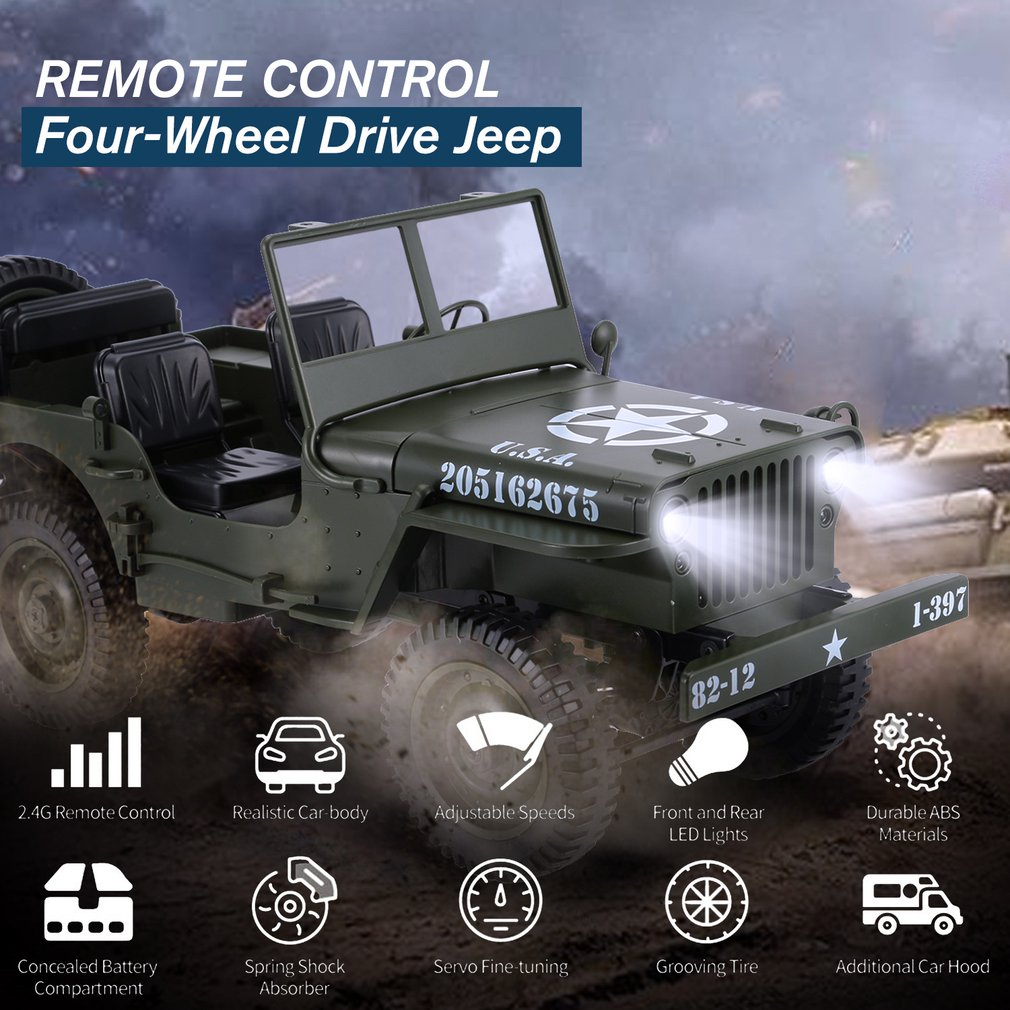 C606 1:10 <font><b>RC</b></font> <font><b>Car</b></font> 2.4G 4WD Convertible Remote Control Light Jeep Four-Wheel Drive Off-Road Military Climbing <font><b>Car</b></font> Toy Kid Gift image