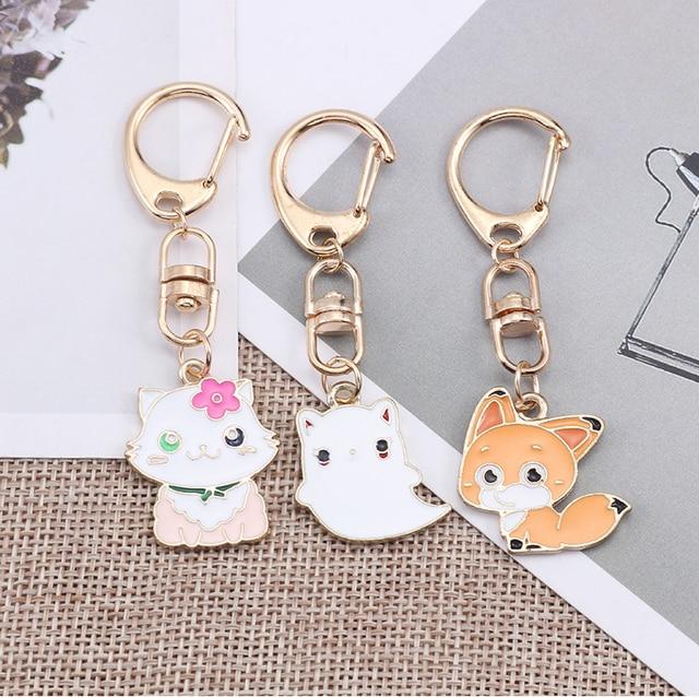 Anime Cartoon Cat Key Chains For Girl Women Cute Fox Mermaid Watermelon Pendants Key Ring Bag Pendant Lovely Jewelry Child Gifts 1