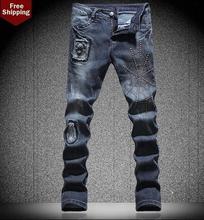 Тонкий прямой паук патч заклепки мужские джинсы маленькие ноги брюки знаменитый бренд брюки высокое качество европейский персонализированные