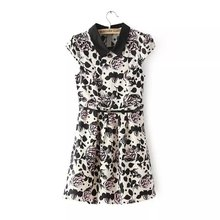 Summer New Europe and America Slim Big Flower Print Lady Dresses, Fashion Thin A-Line Dress, with Belt