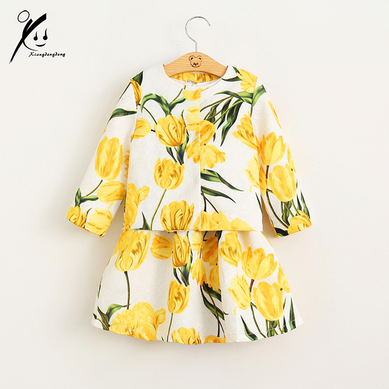 2-7Y Girls Clothing Sets 2017 New Brand Autumn/Winter Gold Floral Printing Outerwear+Dress for Chindren Clothes XDD-605891