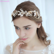 Jonnafe Vintage Gold Leaf Women Prom Crown Floral Wedding Tiara Headband Pearls Bridal Accessories Hair Jewelry
