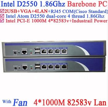 Home Network Server Barebone With Intel D2550 1.86Ghz 4*intel PCI-E 1000M 82583v Lan Support Panabit Wayos ROS Mikrotik PFSense