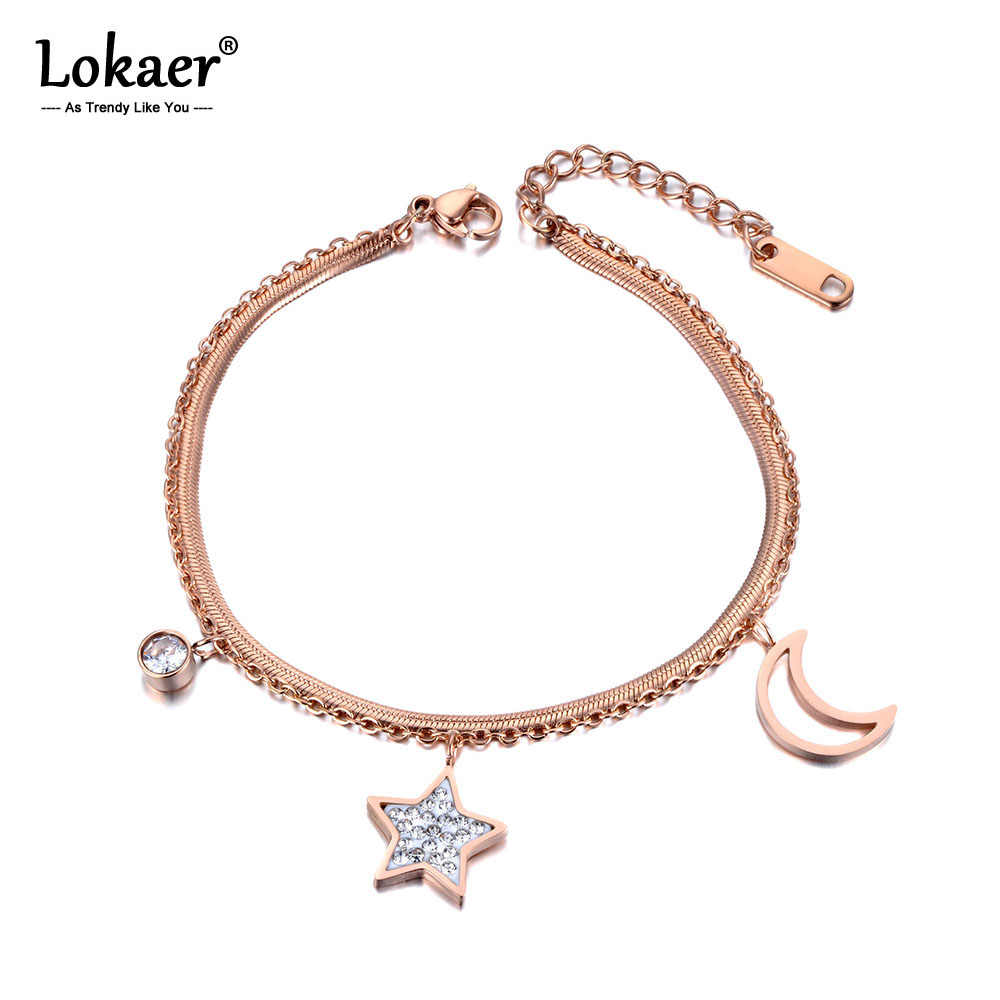 Lokaer Star Moon Charm Double Layers Women Bracelet Bangle Stainless Steel Snake Link Chain Bohemia Summer Beach Jewelry B19019