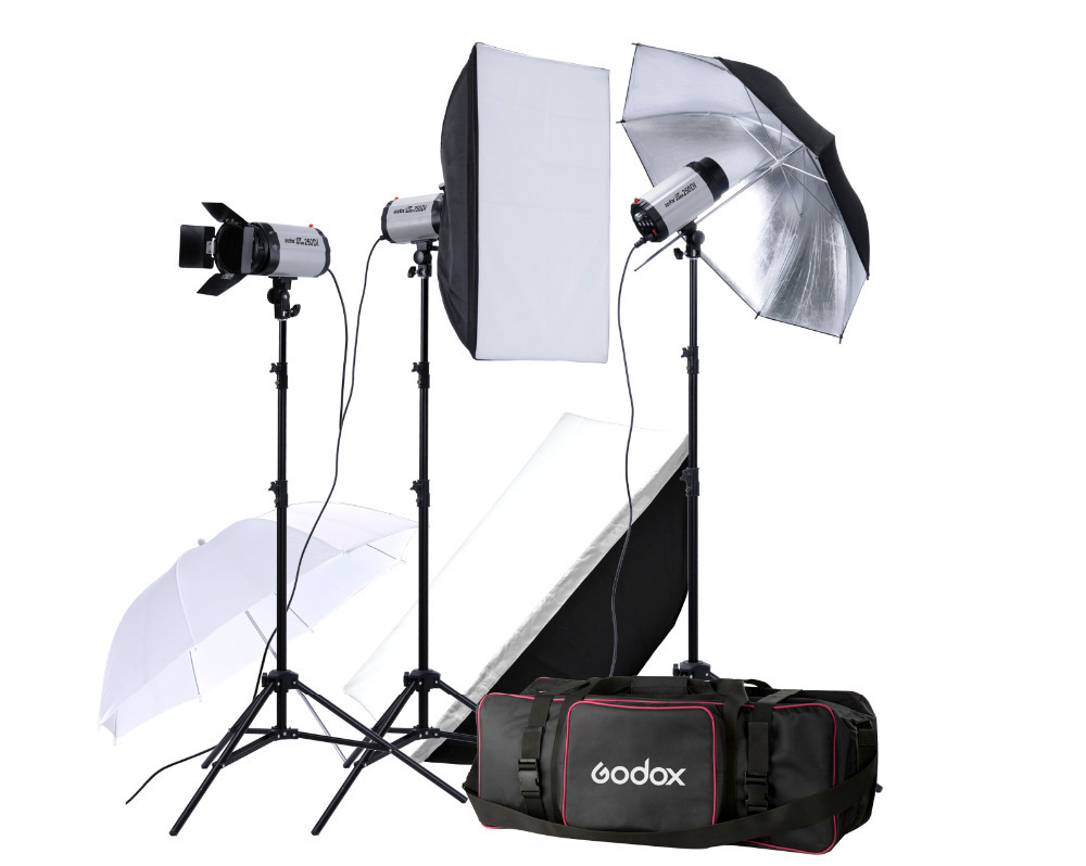 Godox 750W 3x 250W photo Studio Flash Lighting Photography Strobe light Kit godox led308y 3300k led video studio light photography lighting