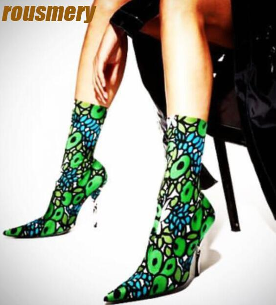 2017 Hottest Flower Print Women Spandex Boots Sexy Point Toe Ladies High Heel Sock Boots Slip On Stretch Boots Fashion Boots набор egomania hottest point travel kit набор hottest point 2 100 мл