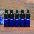 2016 recién llegado de 5 ml azul botella cristal, vacía 5cc botella de aceite esencial pequeños frascos de muestra de goma negro