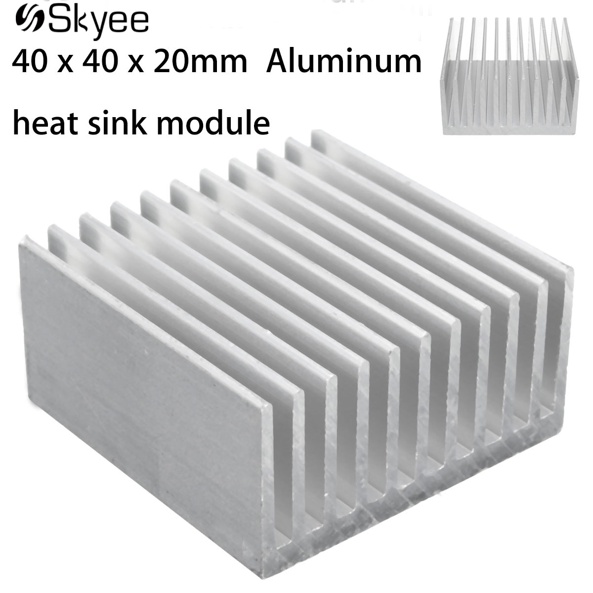 40 x 40 x 20mm Aluminum Heat Sink IC Heatsink Cooling Fin For CPU LED Power Active Component 10 pcs black aluminum cooler radiator heat sink heatsink 20mm x 20mm x 10mm