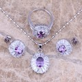 Purple Amethyst White CZ 925 Sterling Silver  Jewelry Sets Earrings Pendant Ring Size 6 / 7 / 8 / 9 / 10 S0118