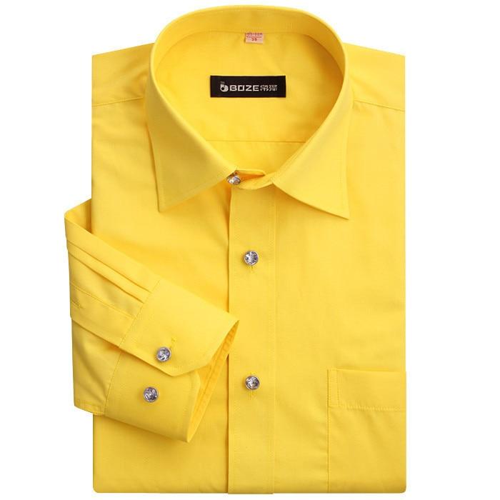 Top quality Solid Cotton mens dress shirts Yellow Mens Shirt ...