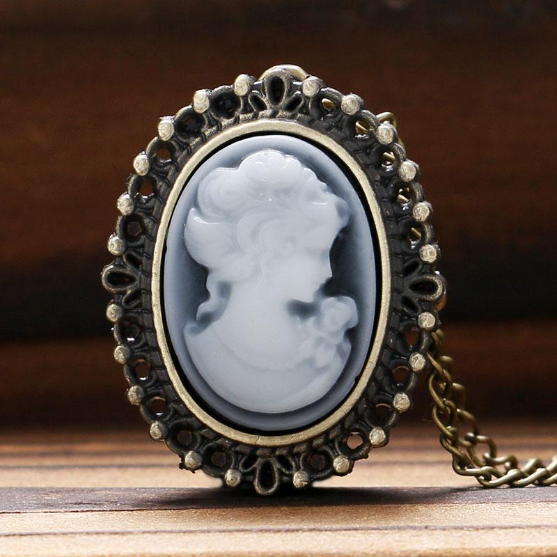 Antique Style Bronze White Lady Beauty Quartz Pocket Watch Necklace Pendant Girl Women Clock Birthday Gift Reloj De Bolsillo P62