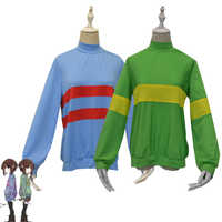 Spiel Undertale Chara Frisk Sweatshirts Halloween Unisex Frisk Chara Cosplay Kostüm Casual Pullover Top Langarm Mantel + Hosen