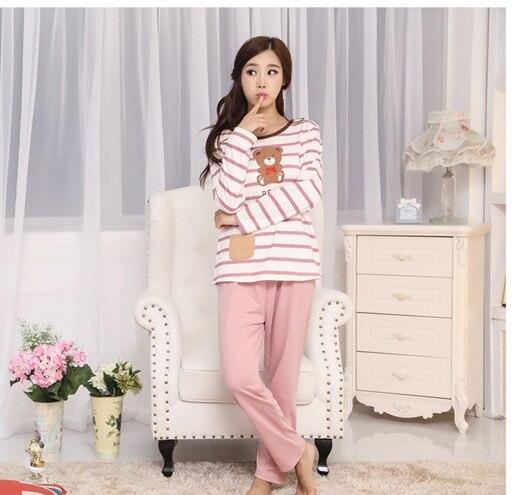 296c9eacde Spring Autumn Print Bear Cute Couple Pajama sets Lovely Sweet Onesie  Nightwear Home Clothes Sleep   Lounge-in Pajama Sets from Underwear    Sleepwears on ...
