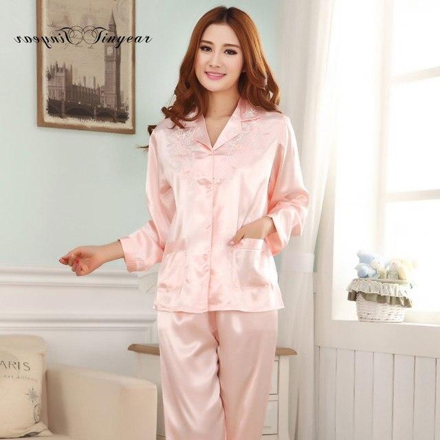 2017 tinyear novas senhoras conjuntos de pijama em casa moda floral pijama ponto pyjamas femmes m-xl 4 cores