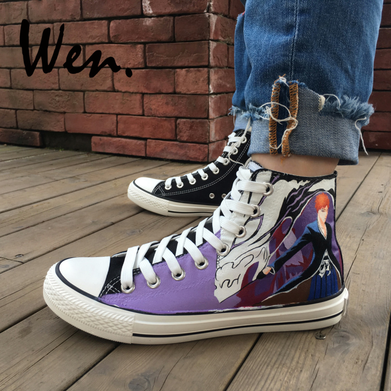 Wen Hand Painted Shoes Bleach Anime Man Womans High Top Canvas Sneakers Sport Skateboarding Shoes Lace up Gym PlimsollsWen Hand Painted Shoes Bleach Anime Man Womans High Top Canvas Sneakers Sport Skateboarding Shoes Lace up Gym Plimsolls