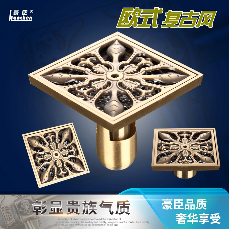 copper, antique carving, deodorant washing machine, bathroom shower room, square floor drain, stainless steel strainer antique copper odor proof floor drain square thickening stainless steel filter screen new classical design